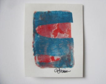 Shimmery Red Ellipses on Blue Tiny Print Size 3 1/2 x 2 1/4""