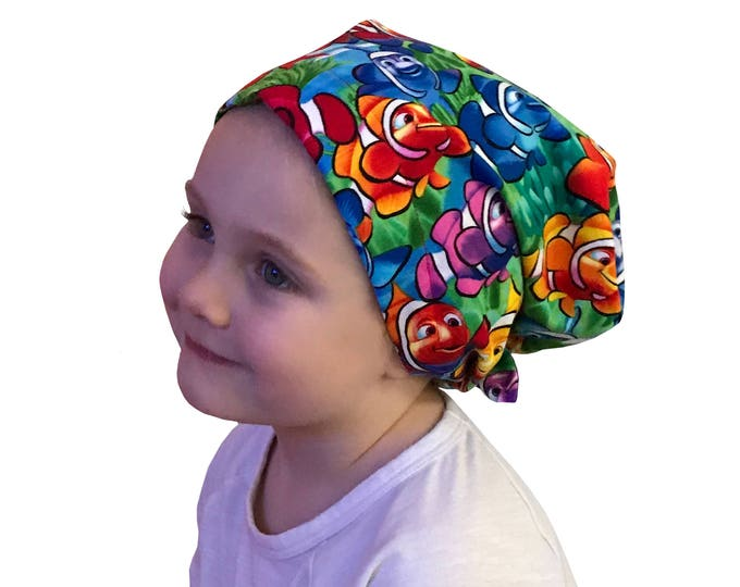 Featured listing image: Mia Children's Head Cover, Girl's Cancer Hat, Chemo Scarf, Alopecia Headwear, Head Wrap, Cancer Gift for Hair Loss - Rainbow Clown Fish