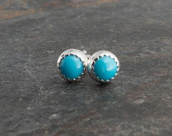 Sleeping Beauty Turquoise Earrings, 4mm Stud Post Earrings, Turquoise Stud Earrings, Sterling Shiny Silver Earrings, Minimalist Jewelry, 4mm