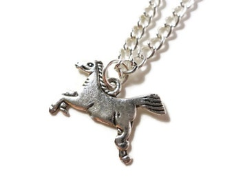 Silver Horse Necklace, Mustang, Animal, Silver Chain, Western Jewelry, Charm, Pendant Necklace, Cowboy, Teen Jewelry, Women's Jewellery