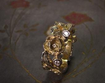 Poppy & Diamond Eternity Wedding Ring (14K) Made to Order
