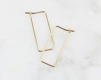 Rectangle 14k Gold Hoop Earrings - Modern 14k Gold Geometric Hoop Earrings - Solid Gold Minimal Geometric Hoop Earrings