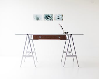 modern desk, walnut modern desk, modern glass desk, walnut desk, glass top desk