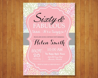 Surprise 60th Birthday Invitation for Women. Sixty and Fabulous. 70th 80th 90th Any Age. Floral. Pink Gray Purple Teal. Printable Digital.