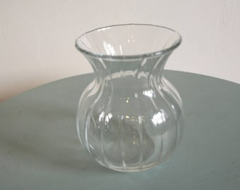 Clear Glass Bud Vase with Portly Bottom and Flared Top