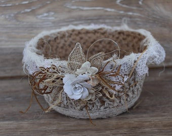 Knitted baskets of natural jute twine Rustic handmade crochet baskets Knit interior storage basket Decorative basket from jute rope