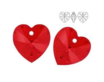 Swarovski Elements, 6228, Heart, Light Siam, 14mm, Swarovski Heart, Swarovski crystal, Red crystal, Red Heart