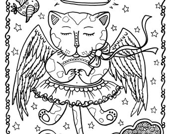 5 pages Fantasy Cats Instant Download 5 Coloring Pages  You Color and be the Artist/digital/adult coloring/digi stamp/fantasy/cat/