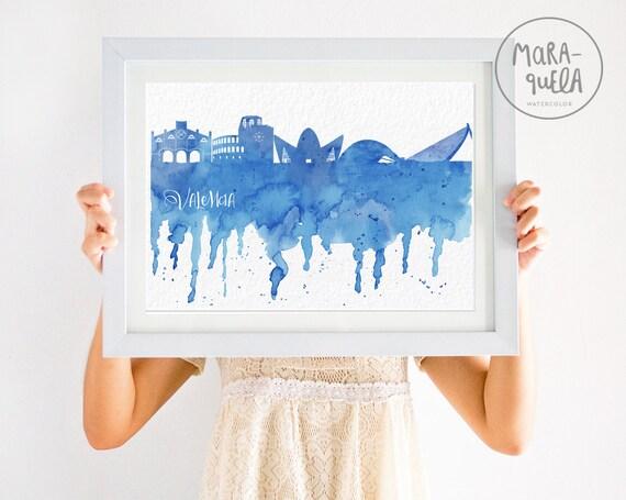 Skyline de Valencia - Ilustracion en acuarela, tonos azules.