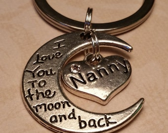 Nanny Gift, Love You to the Moon and Back, Babysitter gift, Nanny keychain, Love my nanny Gift, Gift to nanny from kids, nanny, childcare