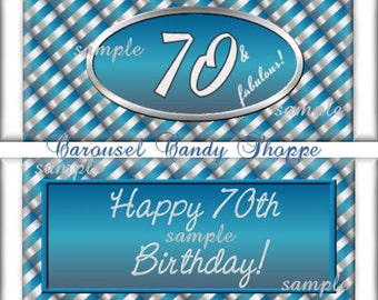 70th Birthday Party Favors Hershey's Candy Bar Wrappers Blue and Silver