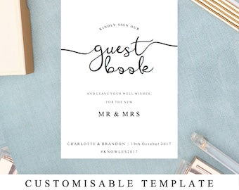 DIY Printable Wedding Sign, Wedding Guestbook Sign, Guest book Sign, Printable Guestbook Sign Template, The One,  INSTANT DOWNLOAD
