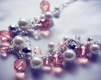 Chunky pearl necklace - pink, silver & white