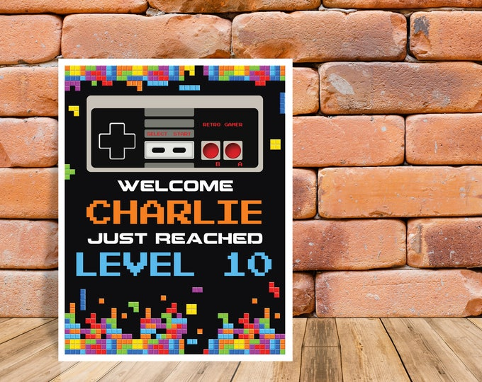 """Video Gamer Party Sign - 8""""x10"""" Welcome Sign, Game Truck Birthday, NES Sign, Self-Editing 