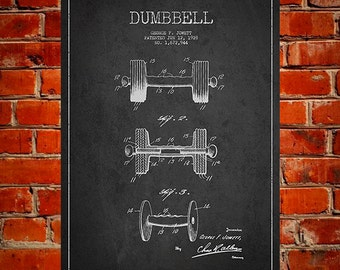 1928 Dumbbell Patent, Canvas Print,  Wall Art, Home Decor, Gift Idea