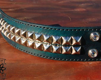 """2"""" Pyramid Stud Turquoise Cuff <Made-to-Order>"""