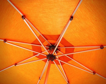 The Under Side Of A Bright Orange Patio Umbrella Print