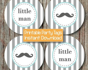 Mustache Little Man Baby Shower Printable Party Cupcake Toppers Tags INSTANT DOWNLOAD pdf Digital Printable File Grey Stripe Light Teal -027