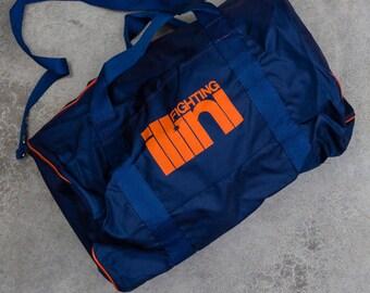 Vintage Illinois Tote Bag Fighting Illini Bag Illinois Vintage Duffel Bag Blue & Orange Gym Tote | Basketball Football Gym Bag Sports 7VV