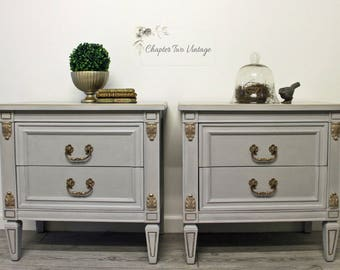 SOLD Pair of Vintage, Hand Painted Nightstands, Gray and Gold Nightstands