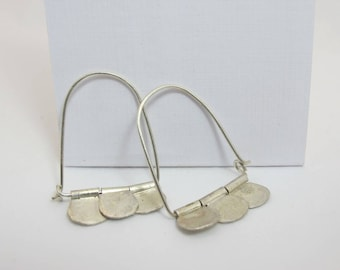 Hammered sterling silver hoop earrings, oriental