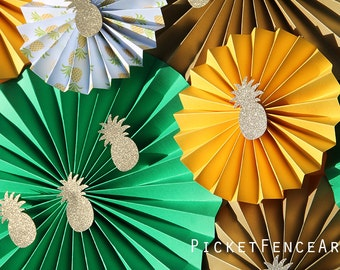 Green and Gold Paper Rosettes, Tropical Party, Pineapple Party, Tropical Baby Shower, Luau Party, Gold Glitter Pineapple, Tropical Backdrop