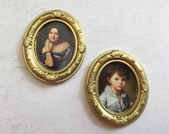 Miniature Framed Pictures, Artwork, Wall Decor, Dollhouse Miniatures, 1:12 Scale, Dollhouse Accessory, Mini Gold Framed Pictures