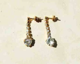 Vintage Rhinestone Dangle Heart Earrings