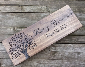 Rustic Wedding wine box, Champagne Box, Large wine box, First Fight Box, Liquor bottle Box, wine box ceremony, love birds box, gift box