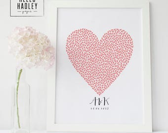 Leaf heart with initials, customisable, A4 print, digital artwork, first anniversary, paper anniversary, anniversary present, couples gift
