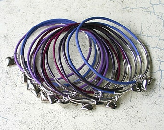 Leather Bangles with Silver Plated Hearts Purple Mix