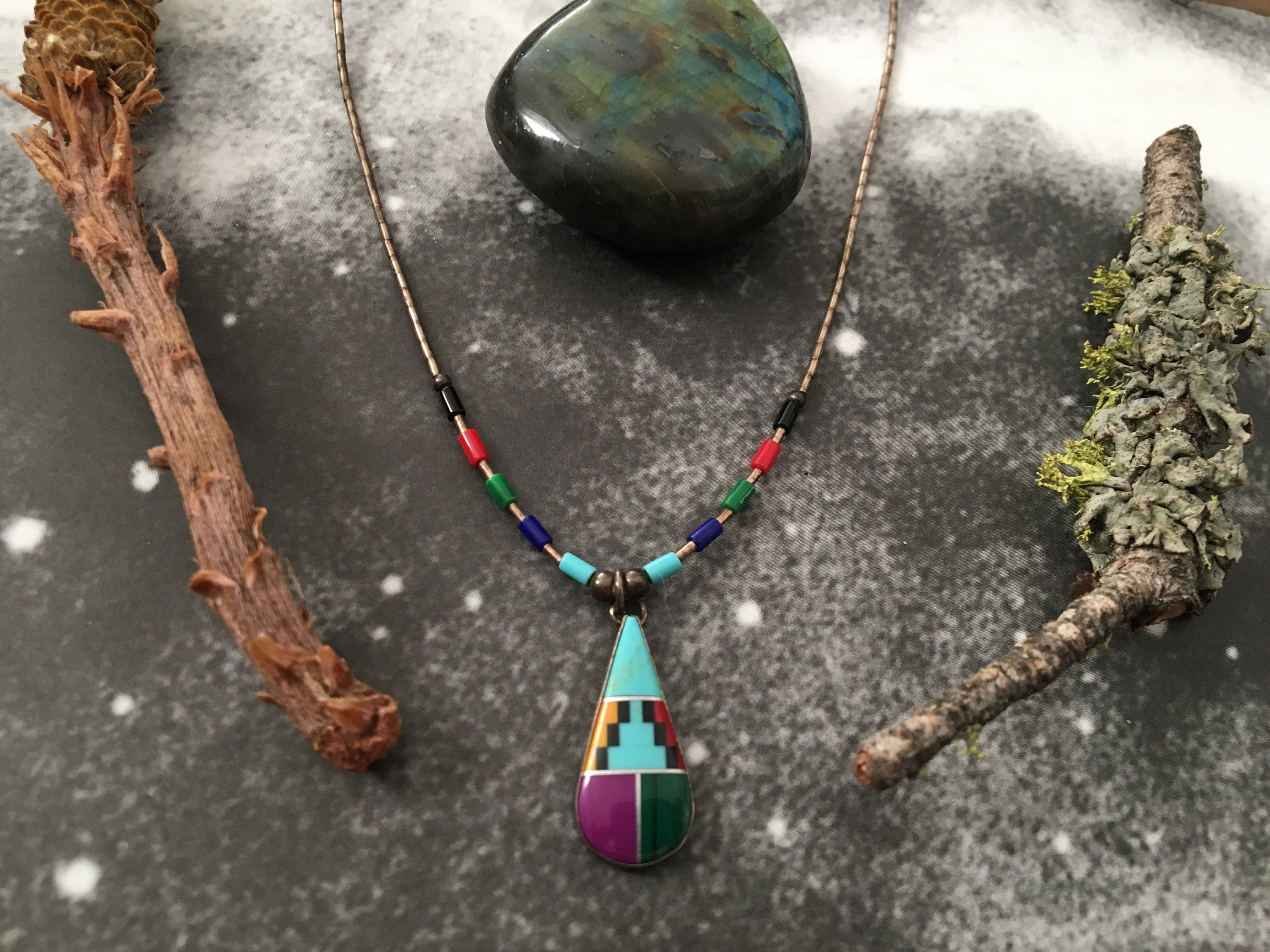 native lab zuni american pendant and necklace earrings opal front