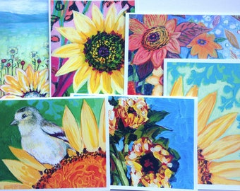 Colorful Sunflowers - set of Blank Note Cards by Jenlo