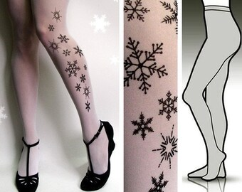 Small/Medium elegant SNOW QUEEN tattoo tights / stockings / full length / pantyhose / nylons WHITE