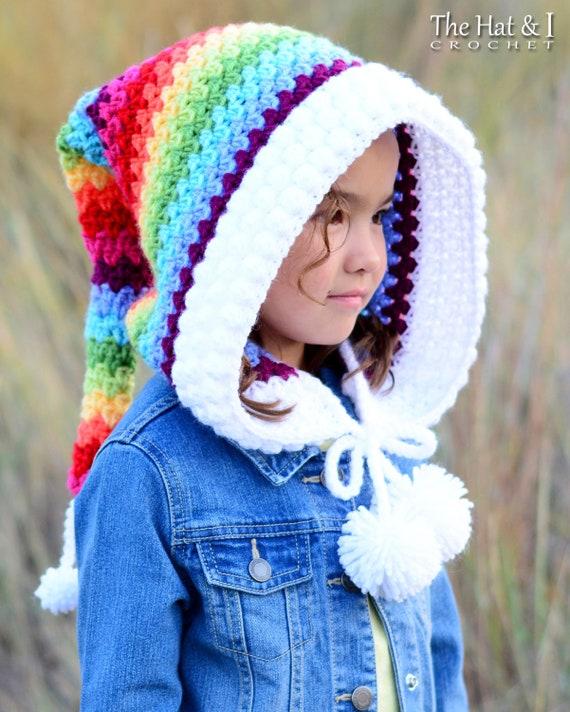 Crochet PATTERN - Over the Rainbow - crochet hood pattern, pixie hat ...