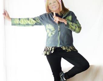 Tie dye Hoodie Sweatshirt, hooded Jacket, Athleisure wear, FREE SHIPPING, size large, boho coat, junior hoodie, lime green and grey, ruffle