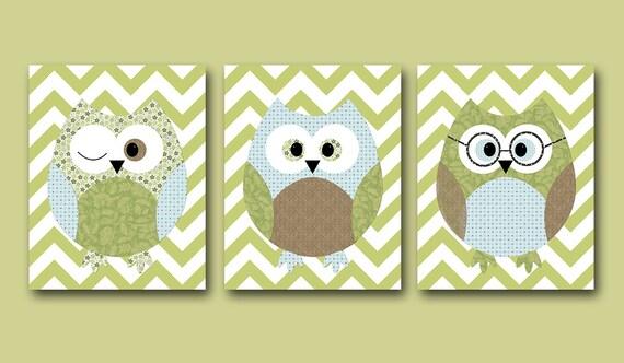 Owls Nursery Baby Boy Nursery Art Nursery Wall Art Baby