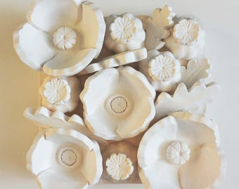Poppy - 3d Wall Tile - Sculpture - Handmade - Decorative - Art - White - Flower