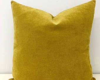 Mustard Cotton Pillow, Boho Pillow, Mustard Pillows, Rustic Pillow, 18X18 Decorative Throw Pillow, Cushions, Mustard Chenille Pillow Covers