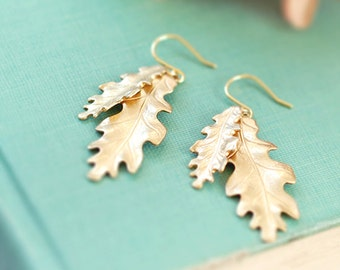 Oak Leaf Earrings Gold Leaf Earrings Brass Oak Leaf Dangle Earrings Autumn Jewelry Fall Earrings Woodland Jewelry Botanical Nature Inspired