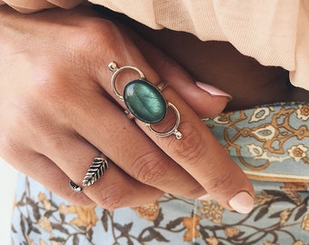 Labradorite ring,sterling silver ring,blue  labradorite ring,boho ring,ring for women,gemstone ring,statement ring,art deco ring,casual rin
