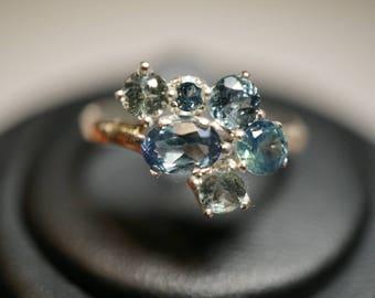 Stunning Montana Sapphire Cluster Ring