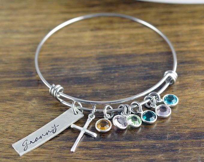 Grandma Birthstone Bracelet, Grandmother Bracelet, Cross Bracelet, Birthstone Charm Bracelet, Grandmother Gift, Gift for Grandmother