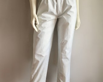 Vintage Women's 80's Palmettos, Striped, Pants, High Waisted, Tapered Leg (M)