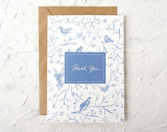 Thank you greeting card - Birds on Branches, Handlettered