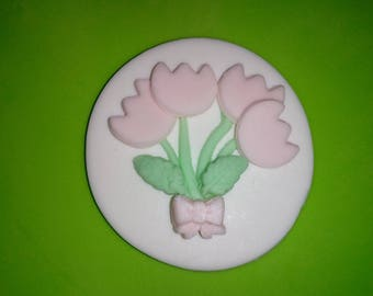 Cupcake Topper Fondant - Baby Shower or Birthday - Pink - Topper for Cupcakes, Cakes or Cookies - 12 pieces