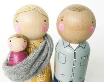 "CUSTOM peg dolls - 3 1/2"" peg dolls + baby // Mama, Papa & new baby peg set/sling // baby shower cake toppers // pregnancy reveal"