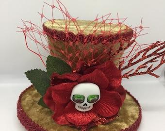 Skull Mini Top Hat Fascinator