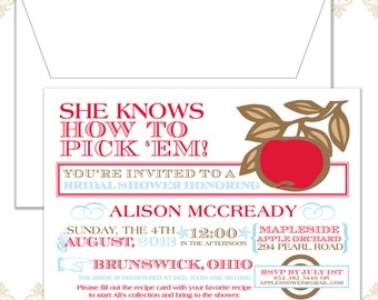 Apple Bridal Shower Invitation - Shower Invite - Bridal Shower Invite - She knows how to pick 'em Shower Invite - Modern Apple Invitation