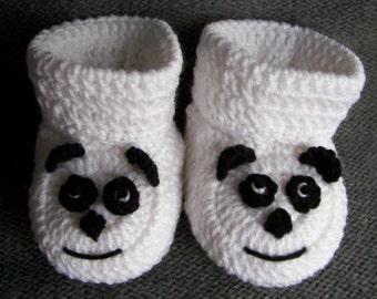 Crochet Pattern, Baby Booties, Panda, Instant Download Size 0-6 Months